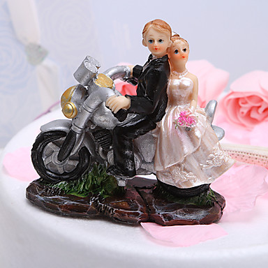 Cake Topper Garden Theme Vehicle Classic Couple Resin Wedding Bridal Shower with Gift Box