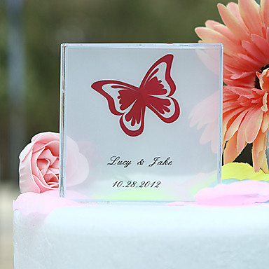 pasta yonca kişiselleştirilmiş kristal kelebek baskı kek Topper