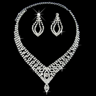 Rhinestone Wedding Party Anniversary Birthday Engagement Gift Daily Alloy Earrings Necklaces
