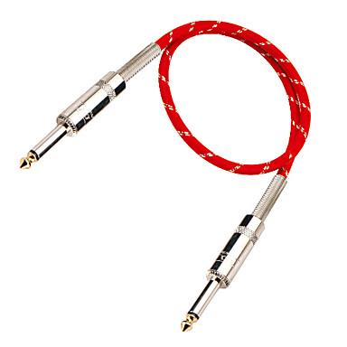 vermelho e prata cabo de guitarra com plug de metal trançado em 6 metros