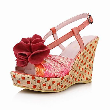 Leatherette Wedge Heel Platform Sandals With Flower (More Colors)