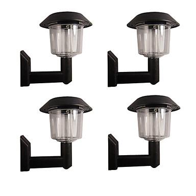 billige Utendørsbelysning-sett med 4 hvite gjerde veggmontert sollys av høy kvalitet utendørs belysning