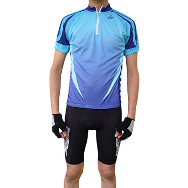 Jaggad Men's Short Sleeve Cycling Jersey - Green / Blue Bike Jersey, Quick Dry, Breathable Polyester