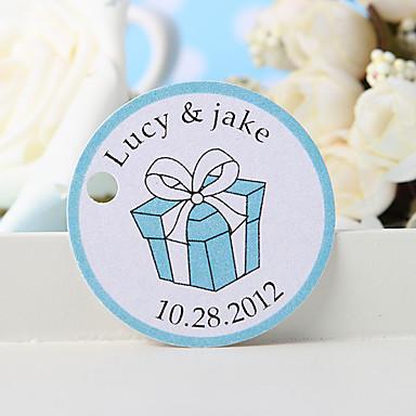 kişiselleştirilmiş lehçe etiketi - mavi hediye kutusu (36 set) düğün iyilikleri