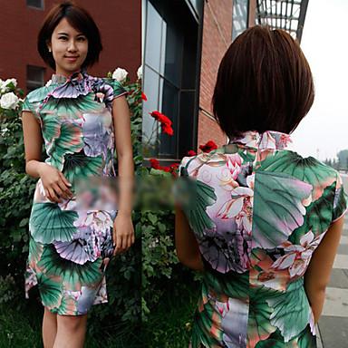 stile cinese fiore stampato cheongsam