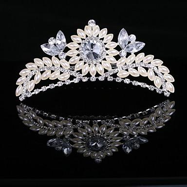 underbara imitation pärla och cubic zirconia i legeringen tiara