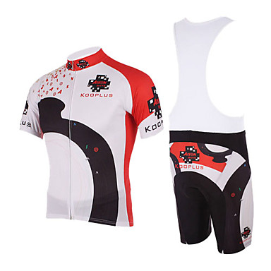 Kooplus Men's Short Sleeves Cycling Jersey with Bib Shorts Bike Bib Shorts Jersey Clothing Suits, Quick Dry, Breathable, Spring Summer,