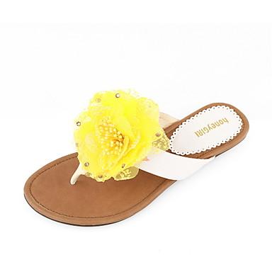 Leatherette Flat Heel Sandals / Flip Flops Honeymoon Shoes With Flower
