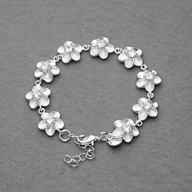 smukke forsølvet hvid krystal blomme blomst kvinders armbånd