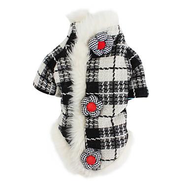 Hund Mäntel Hundekleidung Plaid/Karomuster Schwarz/Weiß Baumwolle Kostüm Für Haustiere Herrn Damen Klassisch warm halten