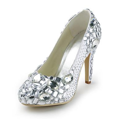 stiletto tacco in raso chiuso pompe toe con le scarpe da sposa di cristallo (altri colori)