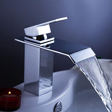 Banyo Lavabo Bataryası - Şelale Krom Tek Gövdeli Tek Delik Tek Kolu Bir Delik