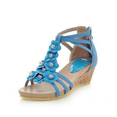 Kunstleder Keilabsatz Plattform Keile / Sandalen Party / Abend Schuhe mit Blume (weitere Farben)