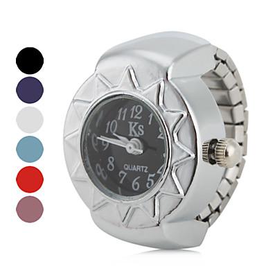 Kadın's Quartz Yüzük Saat Japonca Gündelik Saatler Alaşım Bant Vintage Gümüş