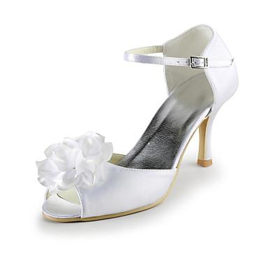 FemininoSaltos / Peep Toe-Salto Agulha-Branco-Seda-Casamento / Social / Festas & Noite