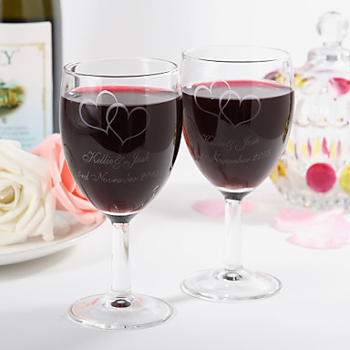 cheap Wedding Gifts-Personalized Red Wine Cup with Two Hearts Design- Set Of 2