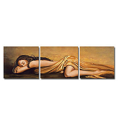 Hand-Painted People Horizontal Panoramic Canvas Oil Painting Home Decoration Three Panels