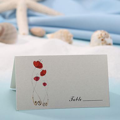 yer kartı - kırmızı çiçek (12'lik set) yer tutucuları düğün tezgahı