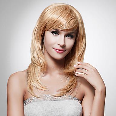 Συνθετικές Περούκες Σγουρά Κούρεμα με φιλάρισμα Συνθετικά μαλλιά Σχέδια Καφέ Περούκα Γυναικεία Μακρύ / Μεσαίο Μήκος δωρεάν Μέρος