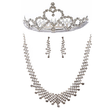 Elegant Rhinestone Bridal Necklace, Earring And Tiara Set