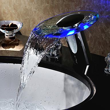 Banyo Lavabo Bataryası - Şelale / Yaygın / LED Krom Ayrılmış Gövdeli Tek Delik / Üç Delik / Pirinç
