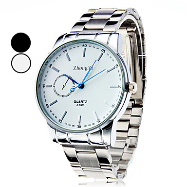 baratos Relógios Homem-Homens Relógio de Pulso Quartzo Prata Relógio Casual Analógico Amuleto Clássico Relógio Elegante - Branco Preto
