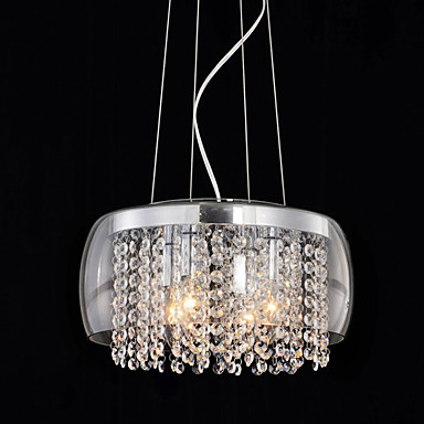 QINGMING® Drum Pendelleuchten Moonlight Lackierte Oberflächen Glas Kristall, Ministil 110-120V / 220-240V Glühbirne nicht inklusive / E12 / E14