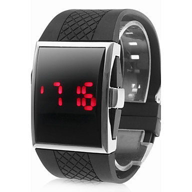 Buy Men's Watch Red LED Digital Rectangle Dial Silicone Strap Wrist Cool Unique Fashion
