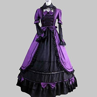 Mittelalterlich Viktorianisch Kostüm Damen Kleid Maskerade Party Kostüme Vintage Cosplay Baumwolle Satin Langarm Gedicht Normallänge