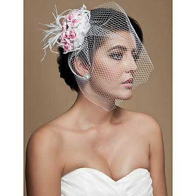 クリスタル ファブリック フェザー - ティアラ ヘッドドレス・ベール 鳥かご型ベール 1 結婚式 パーティー/フォーマル かぶと