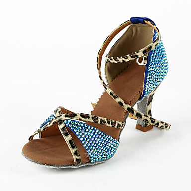 Women's Latin Performance Salsa Satin Heel Rhinestone Buckle Flared Heel Blue Bronze 2 - 2 3/4inch Non Customizable
