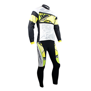 polar yan (sarı ve siyah) ile Santic kış tarzı süper konforlu ve sıcak bir bisiklet takım elbise