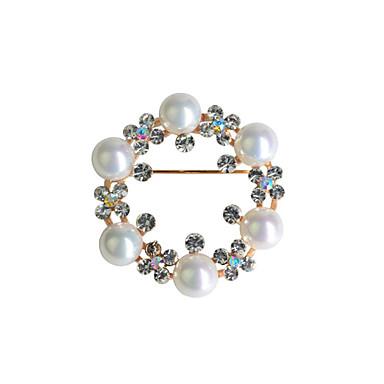 בגדי ריקוד נשים אופנתי פנינה ציפוי זהב יהלום מדומה Circle Shape Geometric Shape לבן תכשיטים עבור חתונה Party קזו'אל
