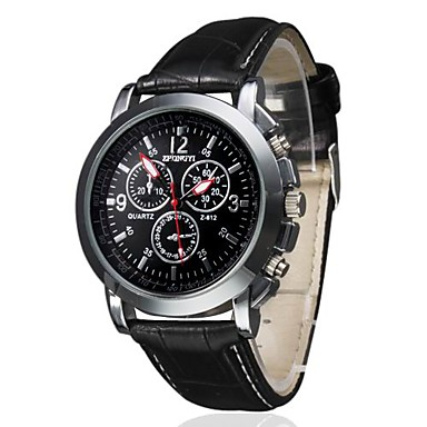 Herrn Quartz Armbanduhr Armbanduhren für den Alltag PU Band Charme Schwarz Braun