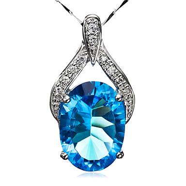 Moda plata 925 con Circonita y collar de diamante de imitación mujeres Platinum Plating es