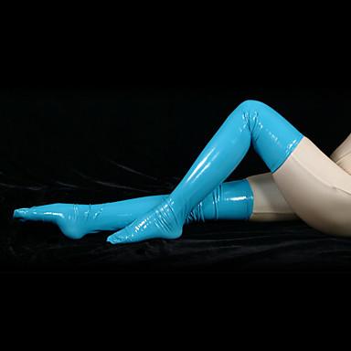 Strümpfe / Strumpfhosen Ninja Zentai Kostüme Cosplay Kostüme Blau Solide Strümpfe PVC Herrn / Damen Halloween / Hochelastisch