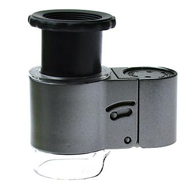 50X 12.8mm Microscope w/ 2-LED White + 1-LED Purple Light - Grey + Black