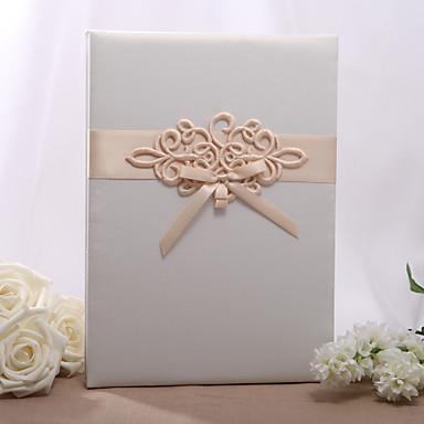 Satin / Perlen Papier KlassischWithSchleife Gästebuch