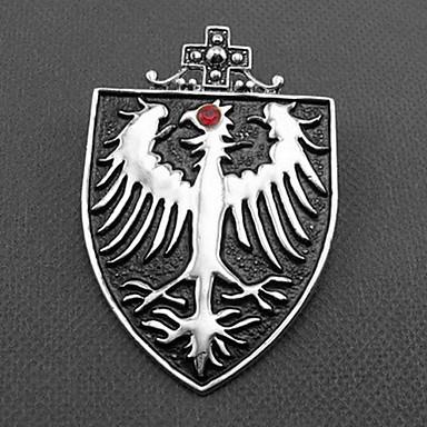 Men's Vintage Rhinestone Eagle Shield Brooch