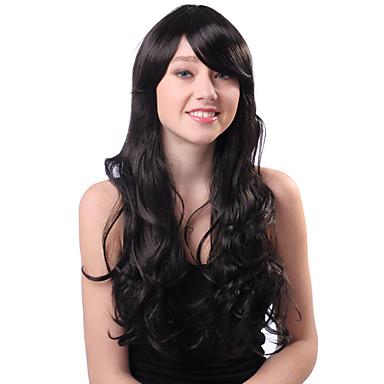 Sin tapa larga Negro rizado sintético de alta calidad japonesa Kanekalon pelucas