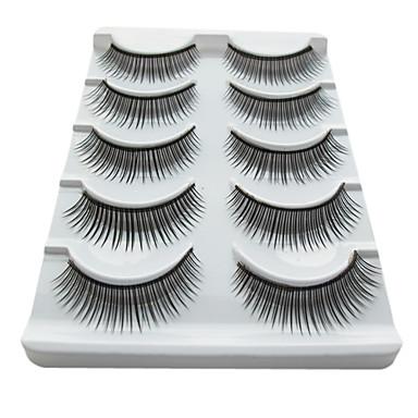 5 par sort fiber øjenvipper Falske Øjenvipper (5-021)