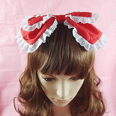 Korut Söpö Lolita Headwear Naisten Punainen / Sininen / Pinkki Lolita Tarvikkeet Yhtenäinen Rusetti Headpiece Puuvilla Halloween-asut