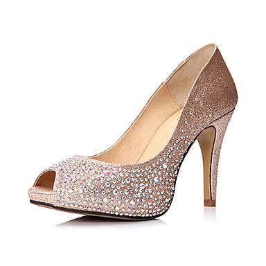 Mousseux paillettes Stiletto talon pompes peep toe avec des chaussures de mariage strass (plusieurs couleurs)