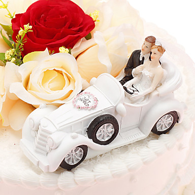 Pasta Üstü Figürler Klasik Çift / Araç Reçine Düğün / Yıldönümü ile PVC Çanta