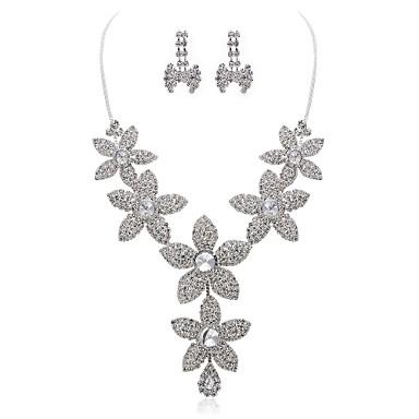 superbe alliage strass mariée mariage collier et boucles d'oreilles ensemble de bijoux