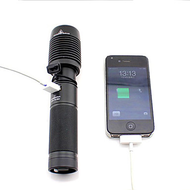 GOREAD 5-Mode XML-T6 LED Focusable Flashlight with USB Jack Charge for Iphone(Without USB Data Line)Y7300101