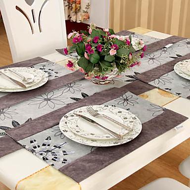 Ensemble de 4 pays multi-couleur Chenille Jacquard Polyester Napperons Floral
