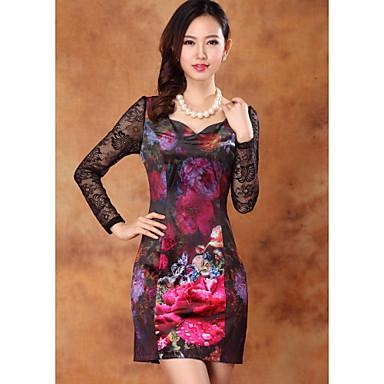 Kvinners Vintage Velvet kjole med blonder Sleeve
