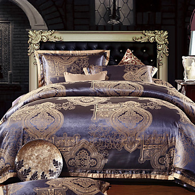 4 pezzi jacquard copertura set roma stile poliestere piumino