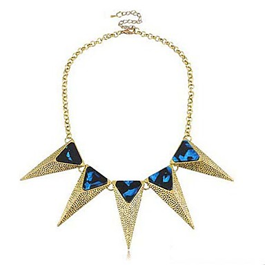 Women's Stereoscopic Trangle Royal Blue Gemstones Necklace
